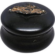 Small Victorian Ebony wood Powder box with puff and mirror
