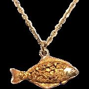 solid 14K Halibut fish pendant