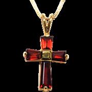Gold Vermeil 925 Sterling Silver Garnet Cross Pendant Necklace W 10K Italy Chain 18