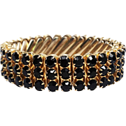 Just like Mom signed Japan child sized black rhinestone stretch bracelet