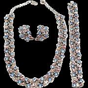Stunning Crown TRIFARI Pink and Blue Rhinestone Parure Set Necklace earrings bracelet