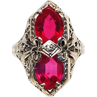 Art Deco 14k White Gold Filigree Ruby and diamond Ring