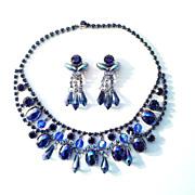 Runway Royal Blue Crystal, Rhinestone & Cabochon Bib Collar necklace earrings set