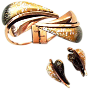 Renoir Matisse Modernist gold leaf Clamper bracelet and earrings