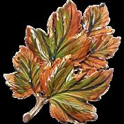 Stunning WEISS Fall Enamel multi dimension Leaf brooch