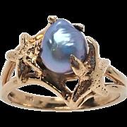 14K Gray Seaside Baroque Pearl Ring 6.25