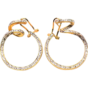 Vintage 14k Gold Diamond Swirl Earrings