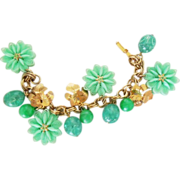 Mint green plastic Flowers, Charms & Beads dangle Bracelet