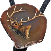 Beautiful Artist Signed Elk painted Agate Bolo