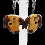 Hereford Bull Vintage Earrings