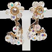 Crystal Winding Staircase Chandelier Clip Earrings