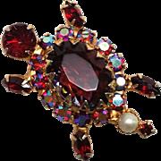 Outstanding Siam Red Rhinestone Turtle Pin