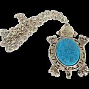 Large 70's Turtle faux turquoise pendant