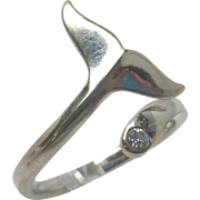 14k White Gold Whale Tale diamond ring 6.5