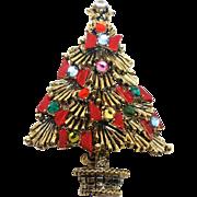 Signed Pakula Rhinestones and Bows Christmas tree pin