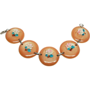 Burnt Orange Disk panel bracelet with Roses 40's 7.75""