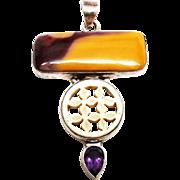 Large Sterling Custom Mookaite and Amethyst Pendant
