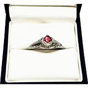 Art Deco Vintage Natural Pink Tourmaline Ring White Gold 14K
