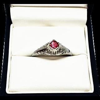 Art Deco Vintage Natural Pink Tourmaline Ring White Gold 14K
