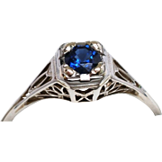 14K Gold .35ct Genuine Blue Sapphire Art Deco Engagement Ring 1.9g