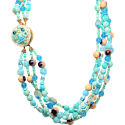 Soft Blues Multi 8 Strand Glass and Bead Necklace FAB Closure