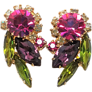 Juliana Pink and Green lovely clip earrings