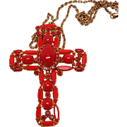 Large signed Alice Caviness Bold Red Glass Cross Pendant necklace