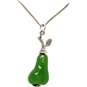 Stunning 800 silver Lucite pear pendant w sterling chain