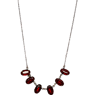 Long Petite Edwardian Red Paste Necklace