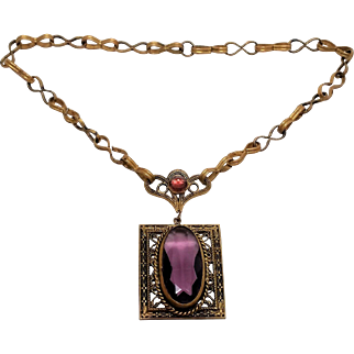 Early Czechoslovakia pendant necklace early Art Deco