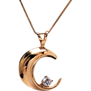 14K yellow Gold and diamond Moon pendant