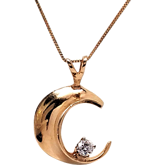 14K yellow Gold and diamond Moon pendant