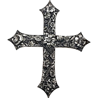 Large Sterling Silver Hand Etched Floral Christian Cross Pendant