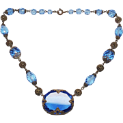 Czech Signed Blue Czechoslovakia Glass Necklace
