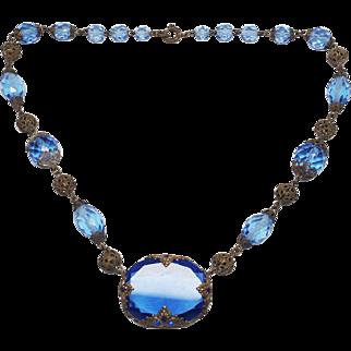 Czech Signed Blue Czechoslovakia Glass Necklace
