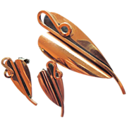 "Renoir  Copper Modernist ""THE LILY"" pin/brooch earrings set"