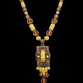 Czech  Satin Yellow Signed Czechoslovakia Glass Fringe Necklace 1920 to 30