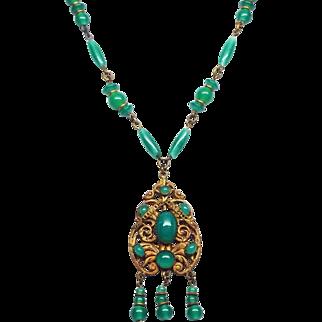 Czech Soft Green Signed Czechoslovakia Glass Fringe Necklace 1920 to 30