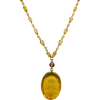Czech Yellow Intaglio Etched Signed Czechoslovakia Glass Necklace