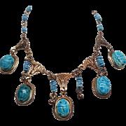 Egyptian Revival Brass Procelain Scarab Necklace Choker Wonderful!