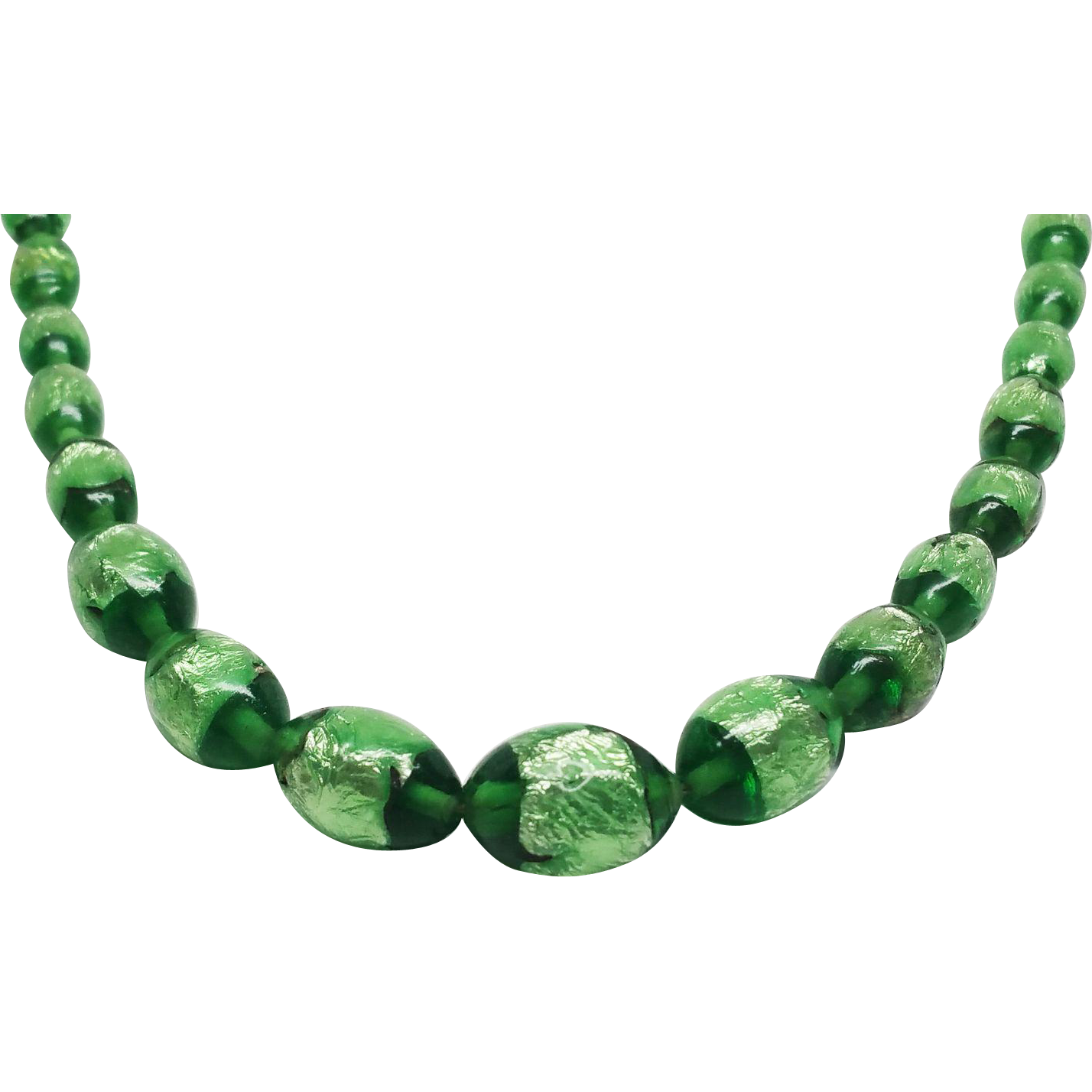 Vintage Green Venetian Glass Opalescent Foil Bead Choker Necklace