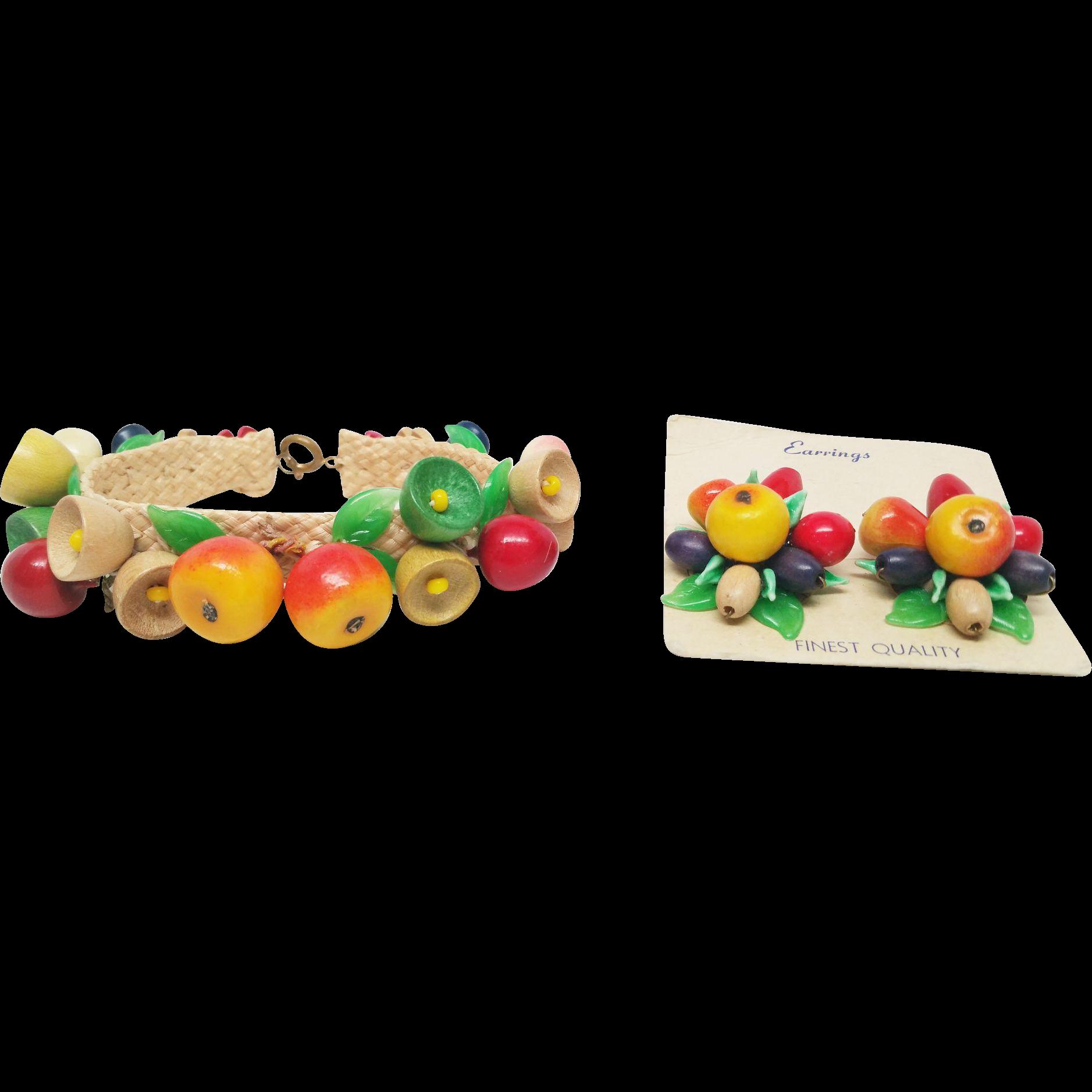 Czechoslovakia wood and glass Fruit Carmen Miranda Bracelet earrings and necklace  Set