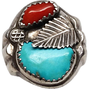 Navajo Native American Indian Sterling Silver Coral and Turquoise Large Mens Ring Handmade sz 13
