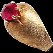 Stunning 14K brushed gold Ruby Ring 7.75