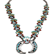 Amazing Zuni Hand done Sterling Sun Face Squash Blossom Necklace