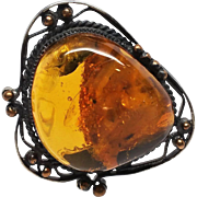 Large 1.75 inch Baltic Amber Brass Brooch