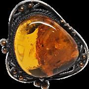 Large 1.75 inch Baltic Amber Brass Brooch