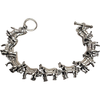 Stunning Sterling Horse bracelet Mare and colt Mother and foul