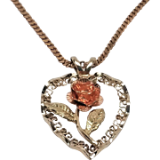 14K Black Hills Gold Rose Pendant