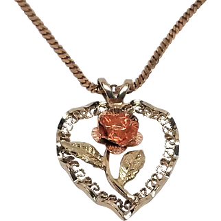 14K Black Hills Gold Rose Pendant